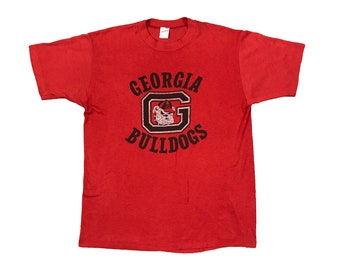 1980s UGA Georgia Bulldogs Logo Single Stitch T-shirt (M)