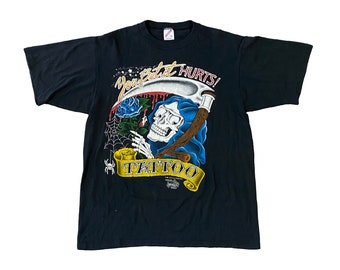 """1990 J.D. Crowe Official Tattoo Brand """"You Bet It Hurts"""" Grim Reaper T-Shirt (M)"""