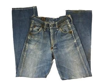 1940s/50s Lee Riders Jeans Crotch Rivet Union Made Sanforized Denim (22X28)