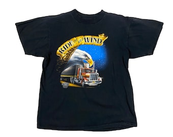 """1992 Truckers Only """"Ride The Wild Wind """" Eagle 3D Emblem Truck Stop Shirt (L)"""