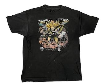 """1989 3D Emblem Paper Thin """"Metal Head"""" Just Brass T-Shirt (L)"""