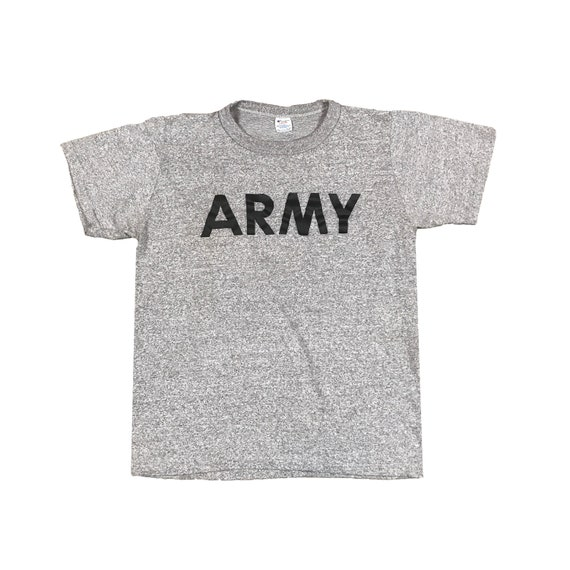 1980s ARMY Gym PT T-Shirt Heather Gray by Champion (M)