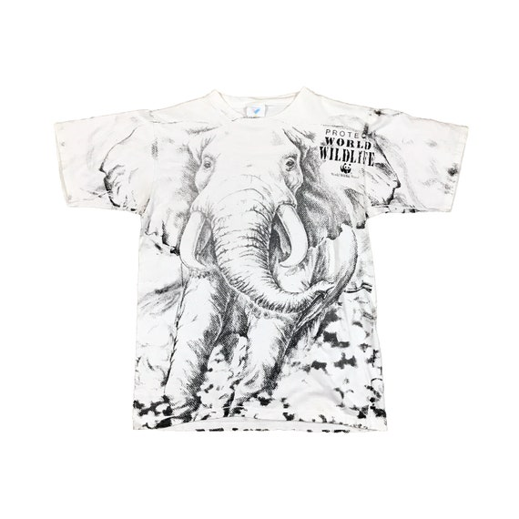 1990s Elephants Protect World Wildlife All-Over Print T-Shirt (M)