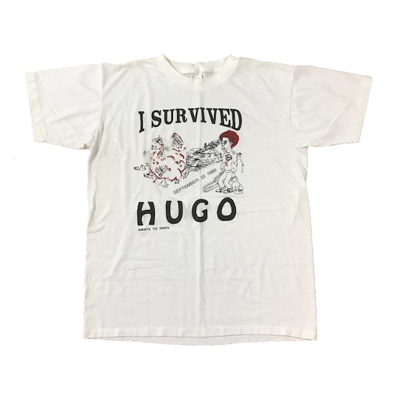 "1989 I Survived ""HUGO"" Hurricane T-shirt (L)"