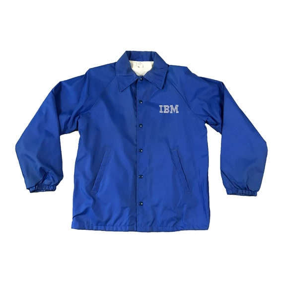 80's IBM Logo Snap Button Windbreaker Coat Jacket (XL)