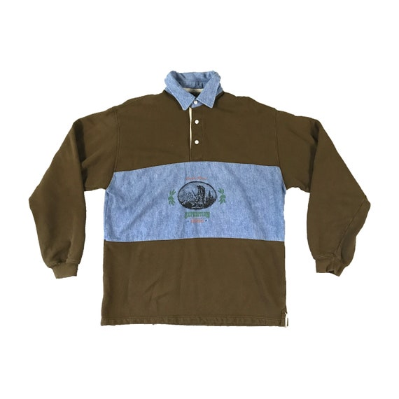 90s Duck Head Expedition 1865 Wood Block Print Rugby Long Sleeve Shirt (XL)