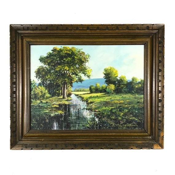 1975 Original Landscape Painting from Bank Robber Patrick D Kane Prison Art (18X24)