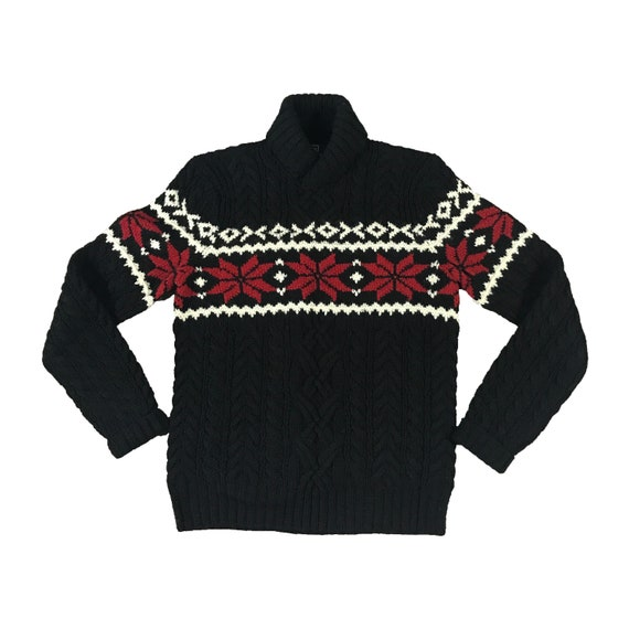 90s Polo Ralph Lauren Hand Knit Wool Ski Sweater (S)