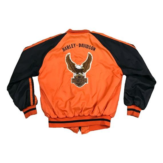 Vintage 1980's Harley Davidson Logo Eagle Patch Track Style Holloway Jacket (L)