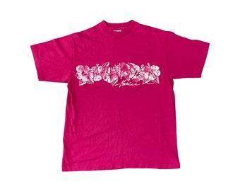 80s Hawaii Hibiscus Design Pink T-shirt (M)