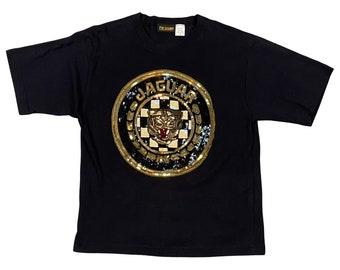 90s Sequins Jaguar Logo Ladies T-Shirt (M)