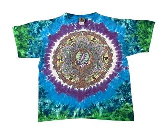 2000 Grateful Dead Skull Roses & Dancing Bears - Liquid Blue Psychedelic Tie Dye T-Shirt (L)