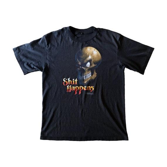 "1988 Paper Thin ""Shit Happens"" Smirking Skull T-Shirt (M)"