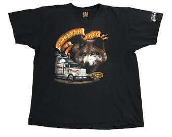 1992 3D Emblem Truckers Only Wolf Big Rig Harley Truck Stop Shirt (XL)