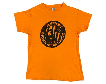 1970s Support Indian Resistance Indigenous Native American T-Shirt (M)