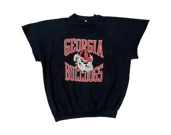 1980s UGA Georgia Bulldogs Logo Raglan Sweatshirt with Cut-Off Sleeves (L)