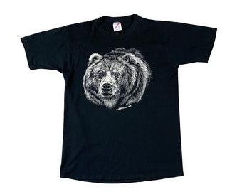 1989 Grizzly Bear Rendering Black Single Stitch T-shirt (M)