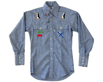 1970s Levi's White Tab Embroidered Chambray Button Hippie Western Shirt (S)