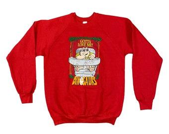 "1990s Dinosaurs Baby Sinclair ""Gotta Love Me"" Raglan Sweatshirt (L)"