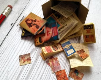dollhouse job lot, modern dollhouse, dolls house bundle, props for realistic dollhouse, one twelfth scale, retro ephemera, miniature attic