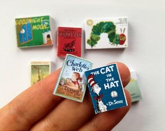 Dollhouse books, twelfth scale, set of 8 dollhouse miniature nursery picture books, modern doll house, mini book, 1 inch scale