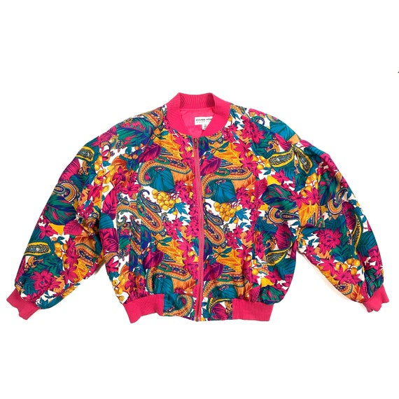 Colorful 1980's Silk Bomber Jacket