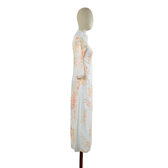 White Watercolor Mandarin Collared Dress - image 3