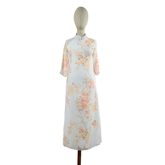 White Watercolor Mandarin Collared Dress