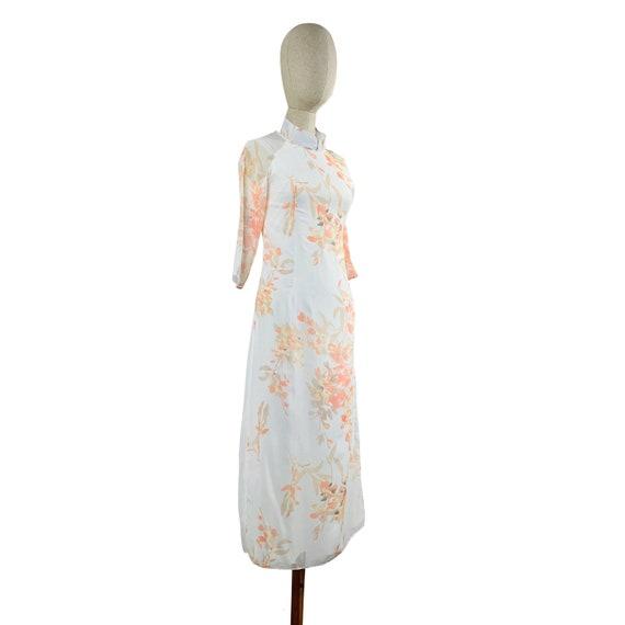 White Watercolor Mandarin Collared Dress - image 2