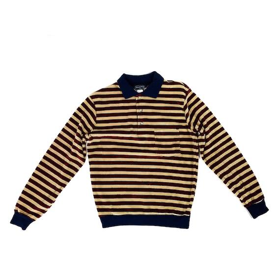 70s Corduroy Striped Polo