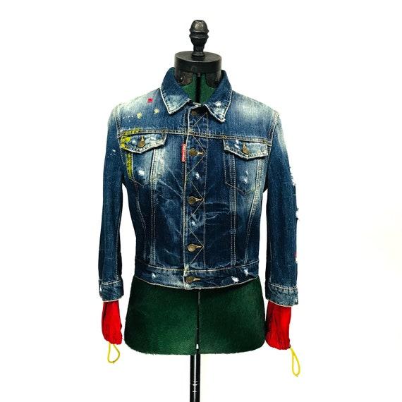 wholesale dealer 21220 2c130 Dsquared giacca di jeans con maniche in Nylon esteso