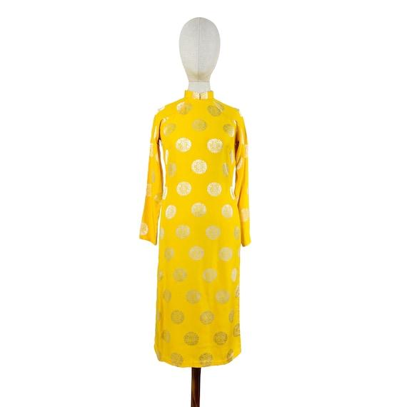 Silver Sun Mandala Mandarin Collared Dress