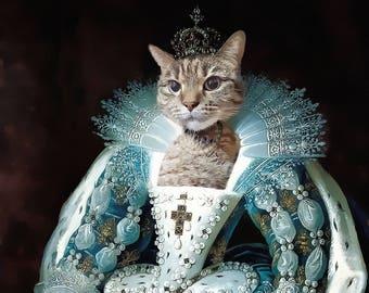 Marie Antoinette, Cat portrait, cat painting, custom cat portrait, cat, pet portrait, cat art, cat gift, cat portrait, realistic painting