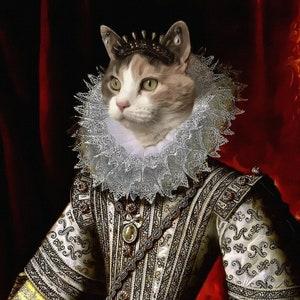 Original Art calico cat The ancient one Pia Cat Bag Custom pet portrait Handmade Canvas White Tote D