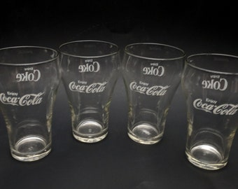 6 Coke Glass Bell Shaped Retro Vintage  Glass two different styles 3 of each