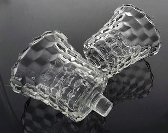 Vintage Peg Votive Candle Cups Holders Cubist Stacked Cube Clear Glass Peg Votive Candle Holders Home Interiors - Pair