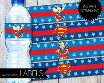 Super Girl Birthday Party PRINTABLE Water Bottle Labels- Instant Download | DC SuperHero Girls| SuperGirl