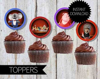 SING Birthday Party PRINTABLE Cupcake Toppers- Instant Download   Sing Movie  2 inches Circles