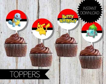 Pokemon GO Birthday Party PRINTABLE Cupcake TOPPERS- Instant Download   Pokémon Go