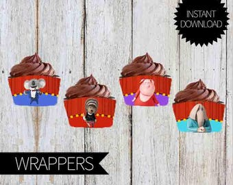 SING Birthday Party PRINTABLE Cupcakes Wrappers- Instant Download | Sing Movie| wrappers