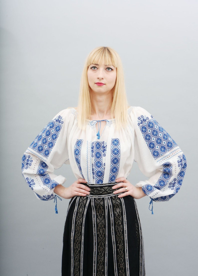 hand embroidered cotton natural fiber hippie Romanian Embroidery blouse la blouse roumaine wheel of luck handmade boho blouse