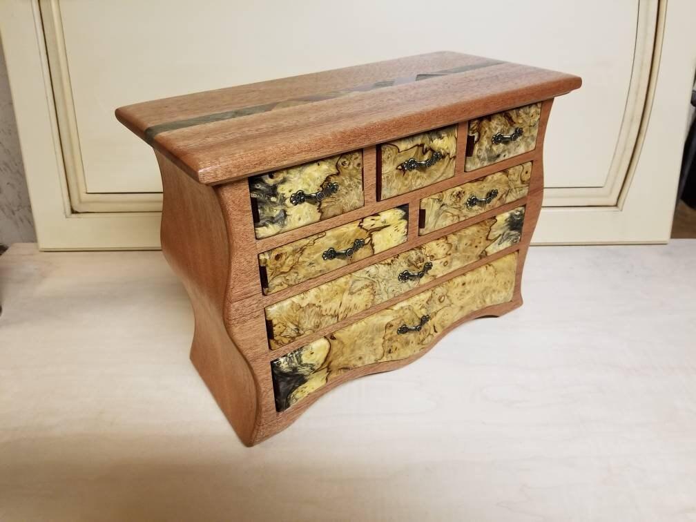 Bandsaw Jewelry Box Made From African Mahogany Buckeye Burl Purple Heart And Plywood