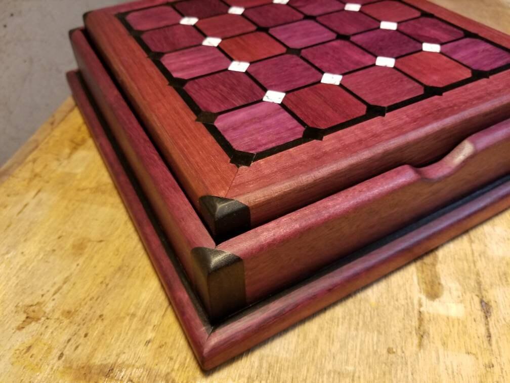Wood Wooden Pill Keepsake container Gaboon Ebony