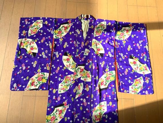 Vintage Silk Crepe Kimono, Vintage Japanese Clothe