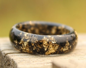 Gold Ring - Black Charcoal, Cleanse, Gothic, Nature Inspired, Romance, Metallic Foil, Punk Rocker, Classic, Dainty, Elegance, Rings for Men