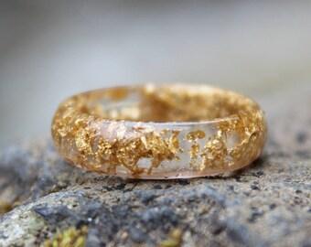 Gold Ring - Golden Foil Band, Romantic, Wedding, Promise, Anniversary, Terrarium, Positive Energy, Glamorous, Beauty, Best Dressed Gift
