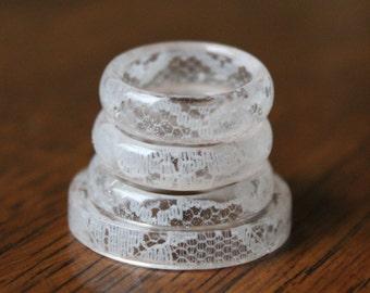 Lace Ring - White, Bride & Bridesmaid, Matching Jewelry, Custom Anniversary, Personalized, Wedding, Bridal Dress, Romantic, Dainty, Elegant