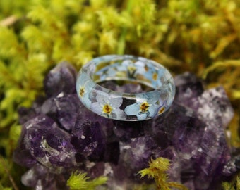 Flower Ring - Blue Forget Me Not, Floral Perfection, Rocky Mountain, Native Wildflower, Wanderlust, Explore, Dried Pressed Plant, Wedding