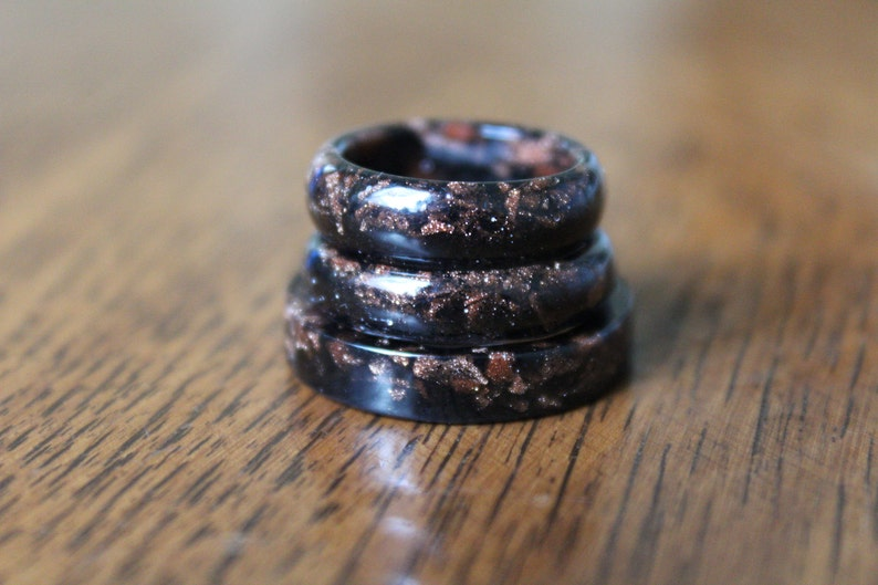 Healing Crystals /& Stones Raw Stone Band Romantic Punk Goth Wild and Free Gypsy Soul Spiritual Holistic Goldstone and Charcoal Resin Ring