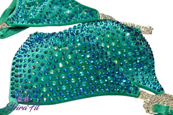 48ec93f64db8 Green Goddess Bikini Competition Suit NPC Bikini Competition